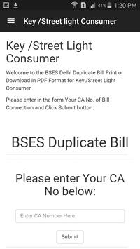 BSES Duplicate Bill Print apk screenshot