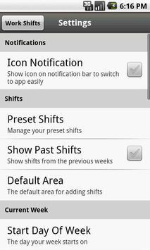 Work Shifts Free apk screenshot