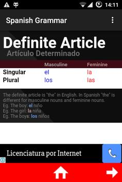 Spanish Grammar apk screenshot