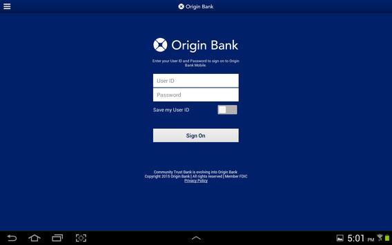 Origin Bank Tablet poster