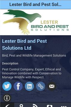 Lester Bird and Pest Solutions poster