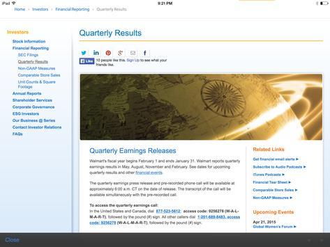 Walmart Investor (tablet) apk screenshot