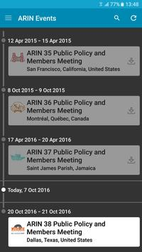 ARIN Events apk screenshot