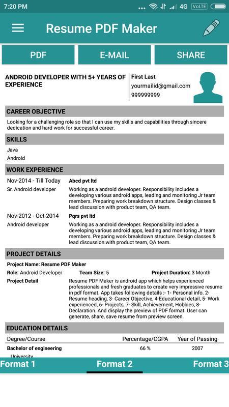 Fine Resume Builder Pro 1 99 Apk Contemporary - Examples ...