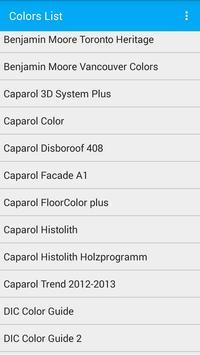 Colors List. Catalog of paints poster