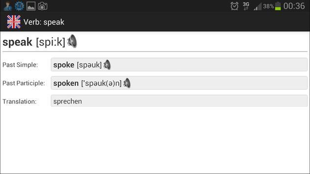 Irregular Verbs apk screenshot