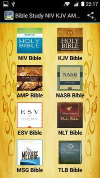 Bible Study NIV KJV AMP NASB poster