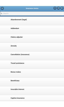 Insurance terms apk screenshot