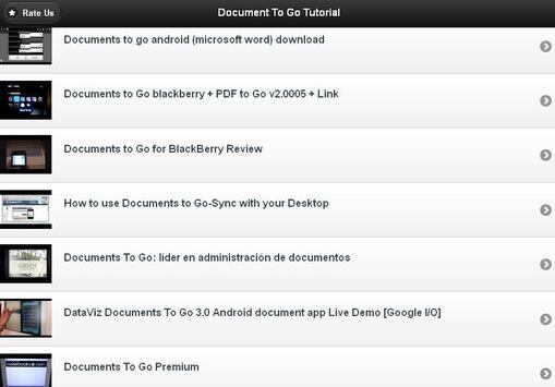 Documents To Go Tutorials apk screenshot