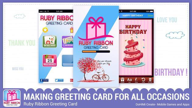 Ruby Ribbon Greeting Cards poster