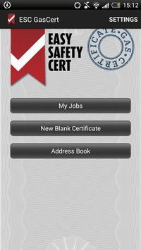 ESC Gas Certificate poster