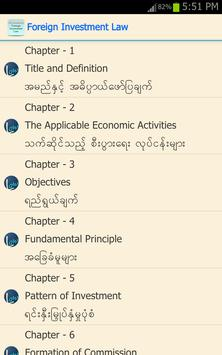Myanmar Foreign Investment Law apk screenshot