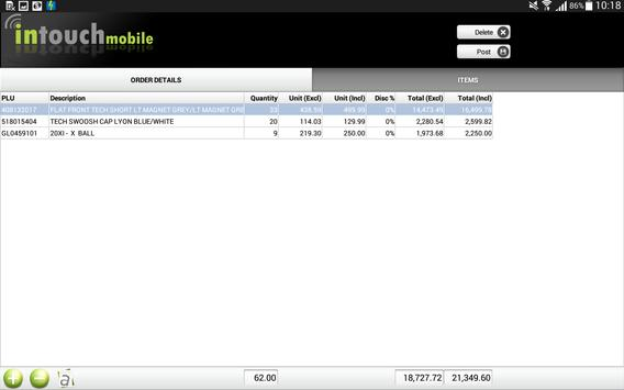 Intouch Sales Orders apk screenshot