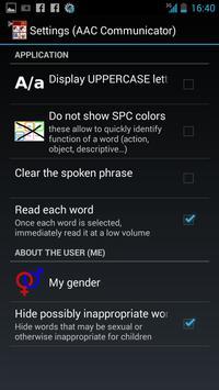 AAC speech communicator apk screenshot