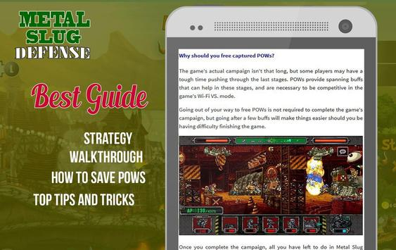 Guide for Metal Slug Defense apk screenshot