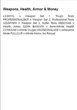 Cheats for GTA San Andreas apk screenshot