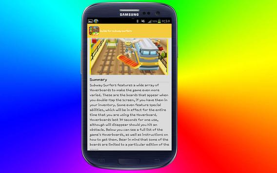 guide for subway surfers 2016 apk screenshot