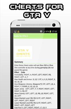 Cheat for GTA 5 Guide apk screenshot