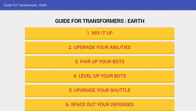 Guide For Transformers : Earth apk screenshot
