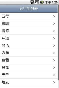 五行生剋表 Wu Xing Table poster