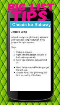 Cheats and Tips for Subway apk screenshot