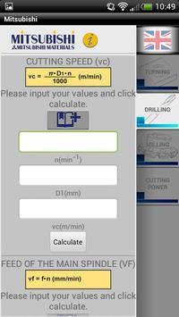Mitsubishi Cutting Calculator poster