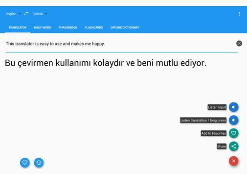 Turkish English Translator apk screenshot