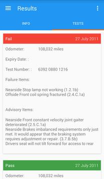MOT History Check apk screenshot
