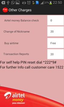 Airtel Money Charges apk screenshot