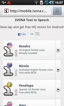 IVONA Kendra US English beta apk screenshot