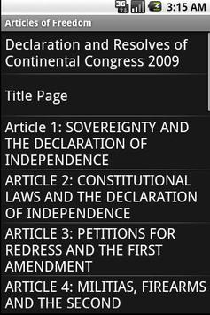 Articles of Freedom apk screenshot