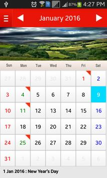 UK Calendar 2016 apk screenshot