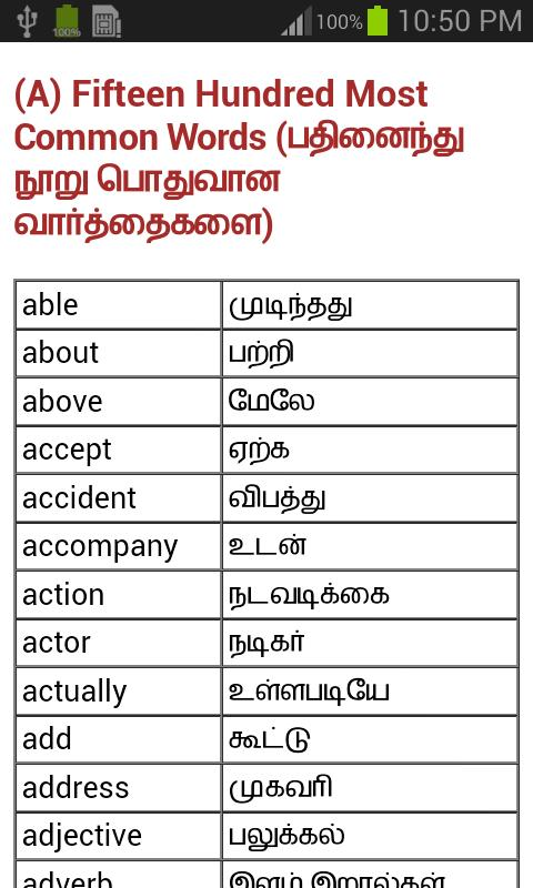 English words with tamil meaning free download