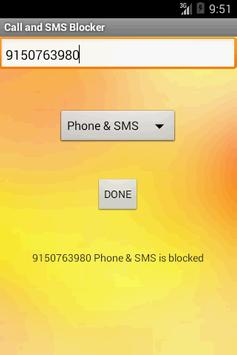 Call and SMS Blocker apk screenshot