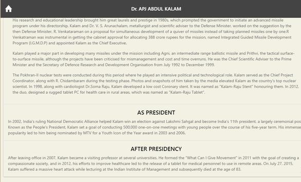 Kalam BioGraphy apk screenshot