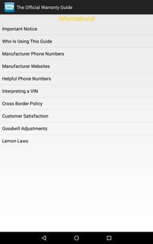 The Official Warranty Guide apk screenshot