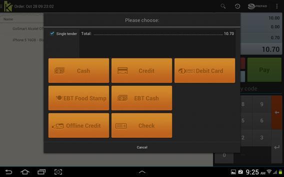 Kashin cloud based tablet POS apk screenshot