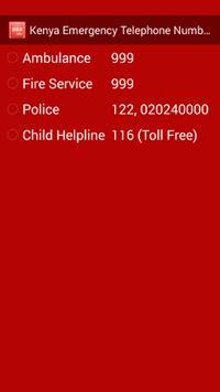 Kenya Emergency Phone Numbers poster