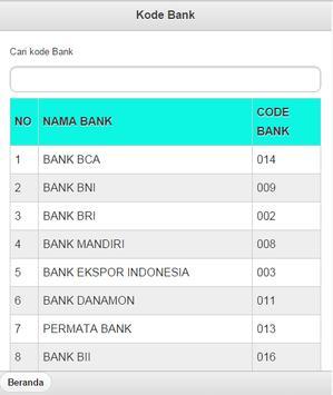 Kode Bank ATM Bersama apk screenshot