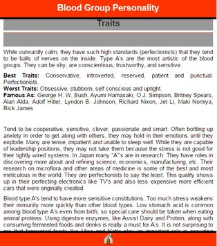 Blood Group Personality apk screenshot