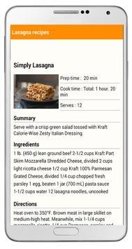 easy lasagna recipe apk screenshot