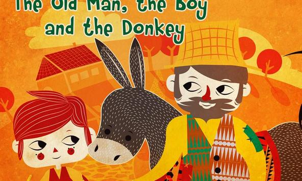 The man, boy and donkey poster