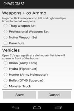 Cheats for GTA: All-in-One apk screenshot