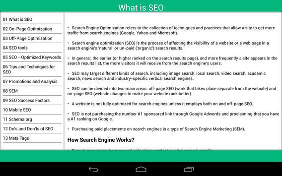 Search Engine Optimization apk screenshot