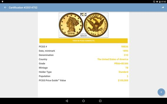 PCGS Cert Verification apk screenshot