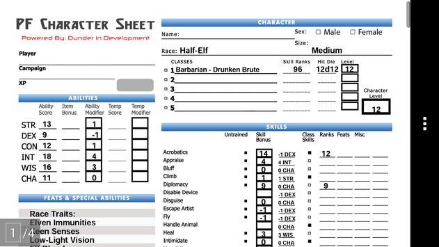 PF Char Sheet Generator - Lite apk screenshot