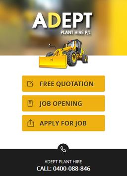 Adept Plant Hire Mobile App poster