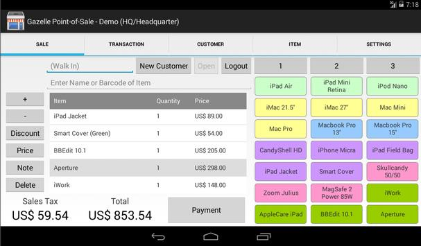 Gazelle POS for Android Tablet apk screenshot