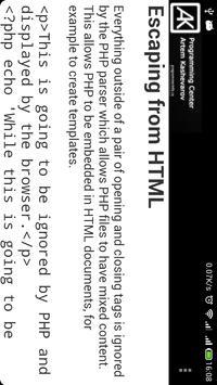 PHP Language Reference apk screenshot