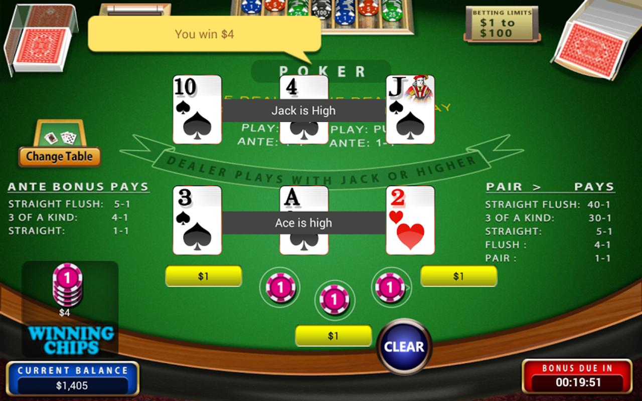 Play Three Card Poker for Real Money or Free